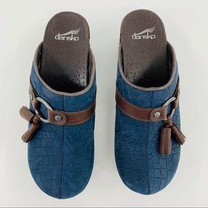 Dansko Shannon Brown & Blue Croc Clog with Tassels